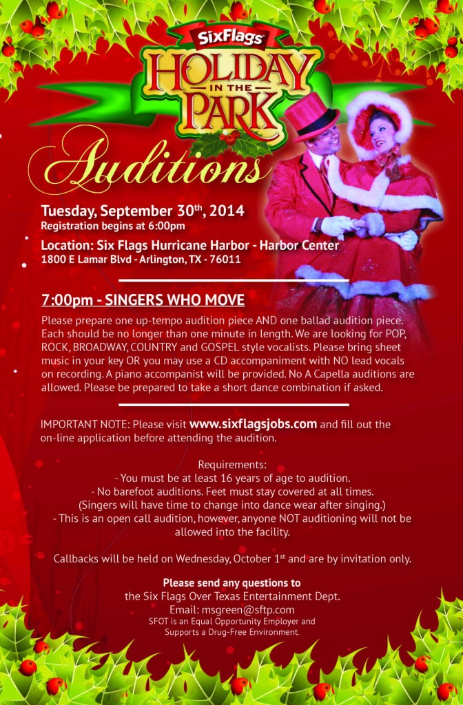 Holiday in the Park Auditions Sept. 30th 2014!