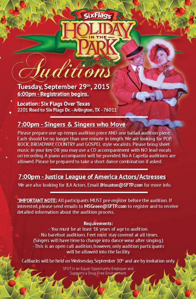 HOLIDAY IN THE PARK AUDITIONS AT SIX FLAGS!