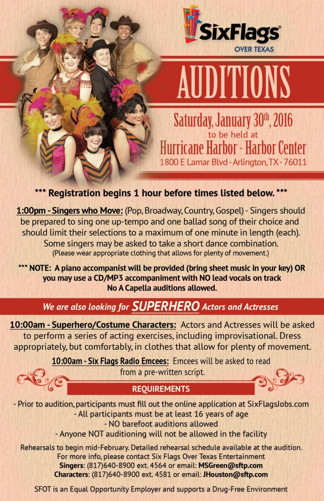 Six Flags Over Texas 2016 Spring Auditions Announced!