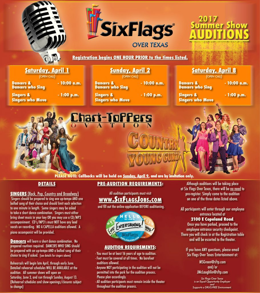 2017 Six Flags Over Texas Summer Auditions Coming Up!